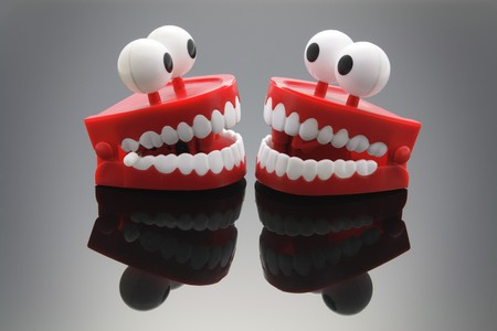 Chattering Teeth with Reflection Stock Photo - 7764201