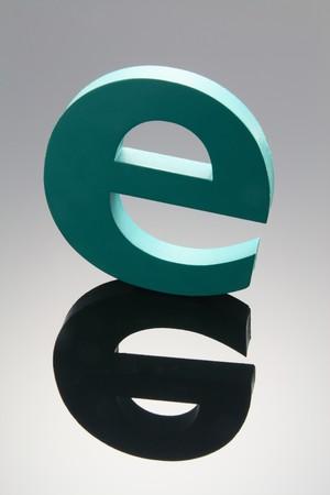 Alphabet e with Reflection photo