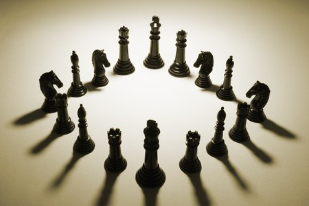 Chess Pieces in Sepia Tone photo