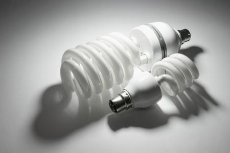 Compact Fluorescent Lightbulbs on Seamless Background photo
