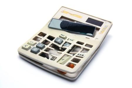 Broken Calculator on White Background Stock Photo - 7852850