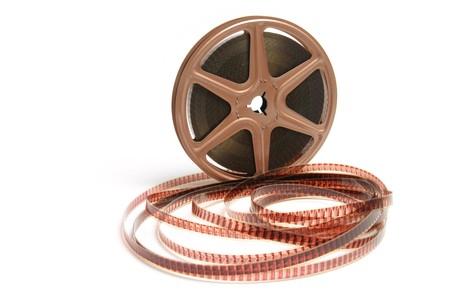 movie film reel: Bobina de pel�cula sobre fondo blanco