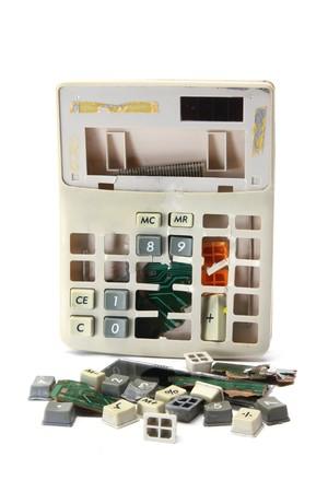 Broken Calculator on White Background photo