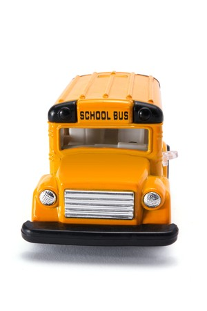 Toy School Bus on White Background photo