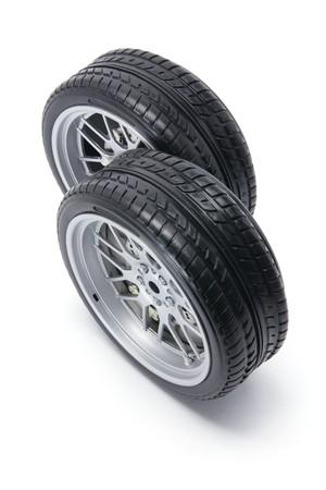 motoring: Tyres on White Background