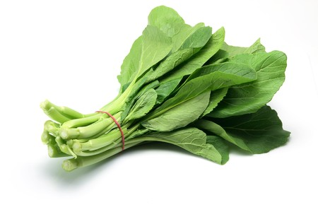 asian produce: Choy Sum on White Background