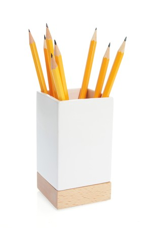 writing implements: Pencils in Holder on White Background