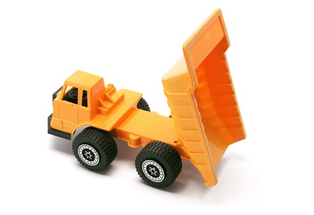 tipper: Toy Construction Tipper on White Background