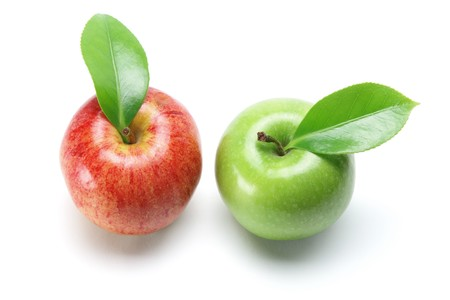granny smith apple: Apples on White Background Stock Photo