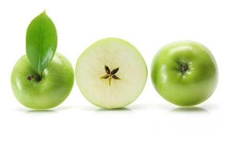 produce sections: Granny Smith Apple on White Background