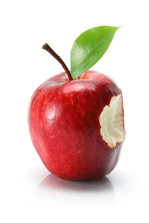Red Delicious Apple on White Background Stock Photo