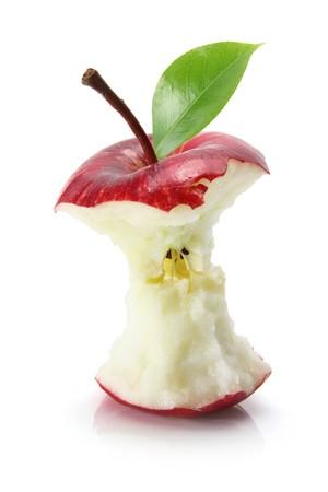 n�cleo: Apple delicioso rojo sobre fondo blanco  Foto de archivo