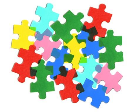 Jigsaw Puzzle pezzi su sfondo bianco