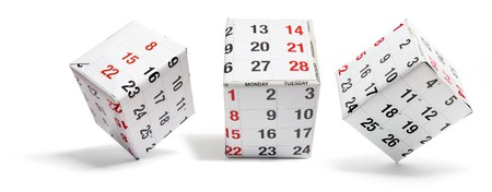 Boxes with Calendar Pages on White Background Stock Photo - 8193586