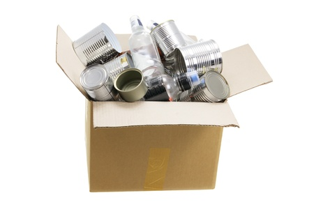 reuseable: Box of Rubbish for Recycling on White Background