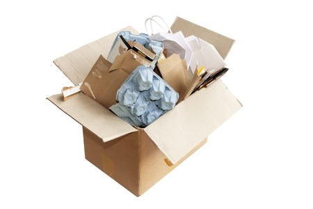 Box of Rubbish for Recycling on White Background Stock Photo - 8228499