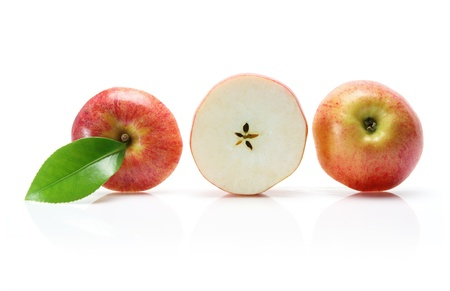 cut out: Slices of Gala Apple on white Background
