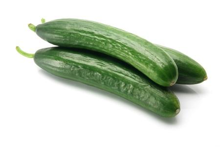 Libanese komkommers op witte achtergrond Stockfoto