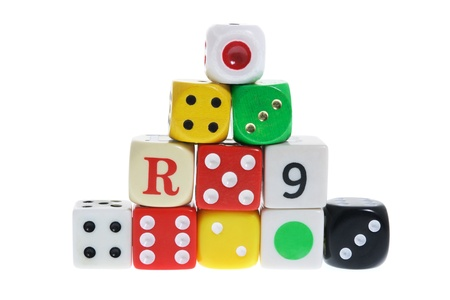 Stack of Dice on White Background Stock Photo - 8358586