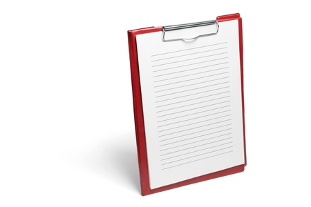 Clipboard with Papers on White Background photo