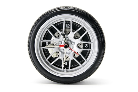 radial tire: Tyre Clock on White Background