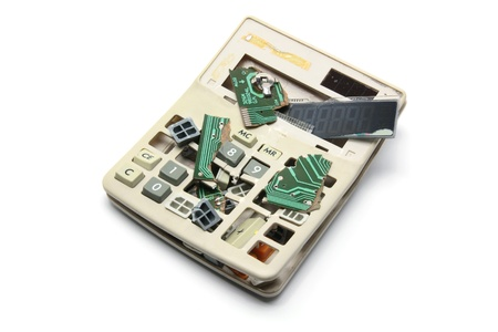 Broken Calculator on White Background Stock Photo - 8494619