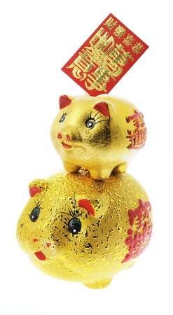piggybanks: Golden Piggybanks on White Background
