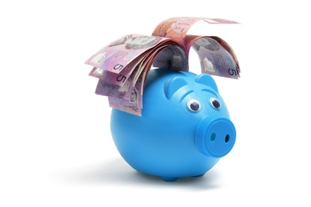 Piggy Bank with Notes on White Background photo