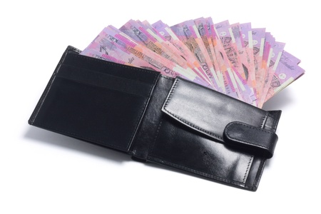 Wallet with Banknotes on White Background photo