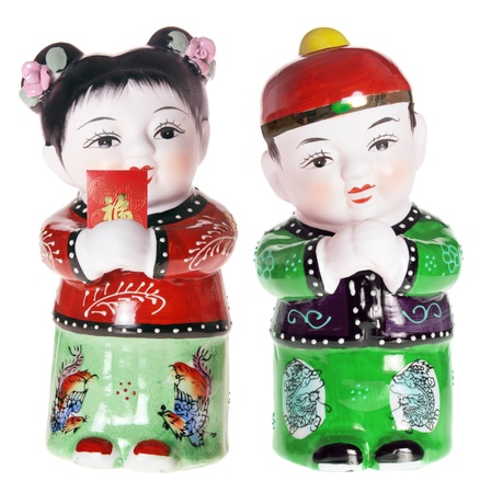 Chinese Boy and Girl Figurines on White Background Stock Photo - 8512982