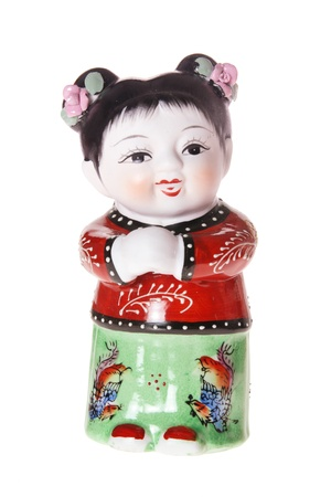 Chinese Girl Figurine on White Background Stock Photo - 8512944