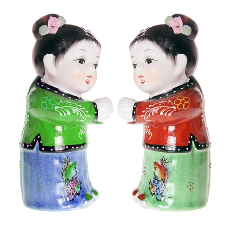 Chinese Girl Figurines on White Background Stock Photo - 8512981