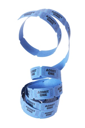 roll out: Reel of tickets on White Background