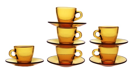 Stacks of Empty Cups on White Background Stock Photo - 8820391
