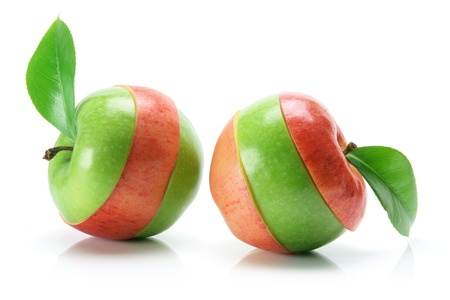 Granny Smith and Gala Apples on White Background photo
