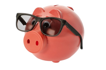 Piggy Bank with Sunglasses on White Background photo