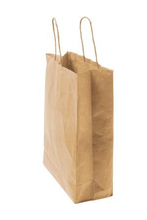 Brown Paper Bag on White Background Stock Photo - 8981575