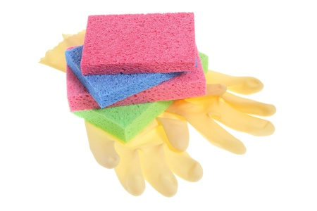 Rubber Gloves and Sponges on White Background Stock Photo - 8981610