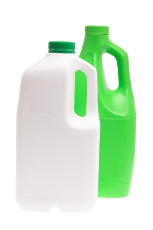 Plastic Detergent Bottles on White Background photo