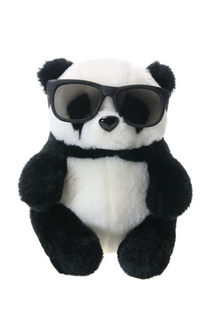 tinted glasses: Panda Soft Toy with Sunglasses on White Background Stock Photo