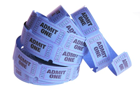 Reel of Movie Tickets on White Background photo