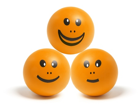 Smiley Balls on Isolated White Background photo
