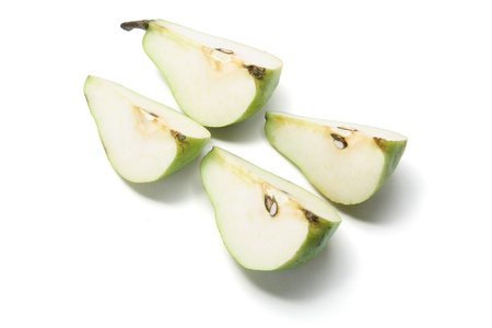 Pieces of Pear on White Background photo