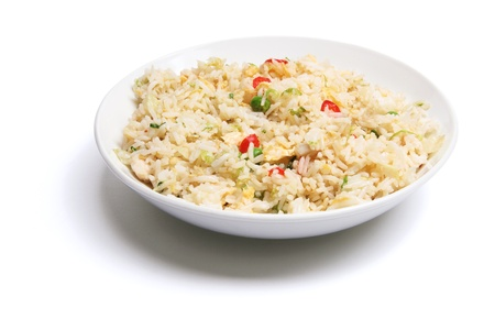 Plate of Fried Rice on White Background Stock Photo - 9086818
