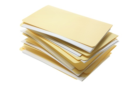 Manila File Folders on White Background Stock Photo - 9108848