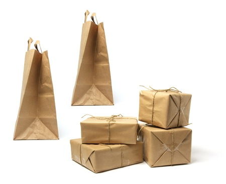 Packages and Shopping Bags on White Background photo