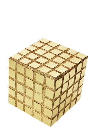 Golden Cube on White Background Stock Photo - 9187018