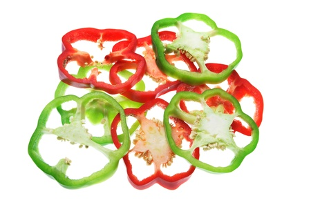 Slices of Capsicum on White Background photo