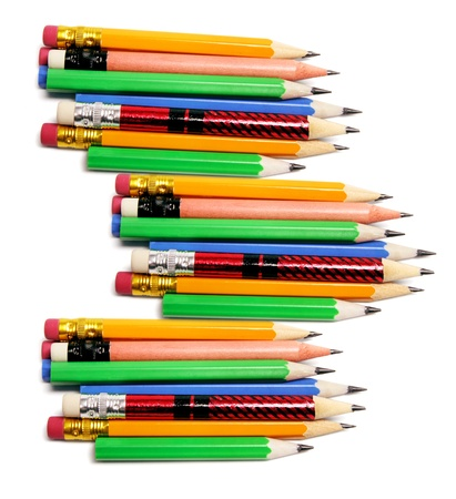 Rows of Pencils on Isolated White Background Stock Photo - 9211944