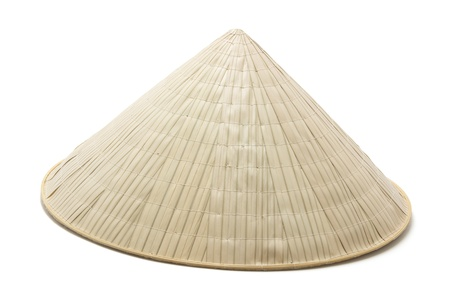 conical: Bamboo Hat on White Background
